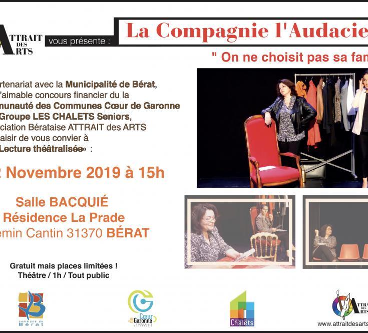 """Lecture Théâtralisée : La Compagnie l'Audacieuse """"On ne choisit pas sa famille !"""" 2019"""