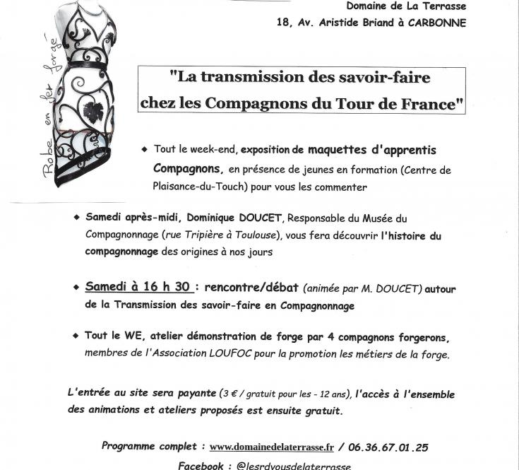Compagnons du Tour de France - Médiévales 2017 - Exposition maquettes, atelier forge, rencontre/débat autour de la transmission des savoir-faire