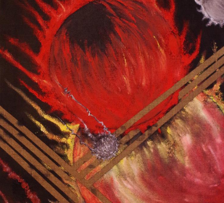 *Descente de Sphères* 63 X 94 sur toile de jute, aérosol, acrylique