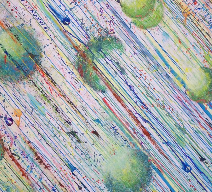 *Descente de Sphères* 130 X 154 sut toile, acrylique