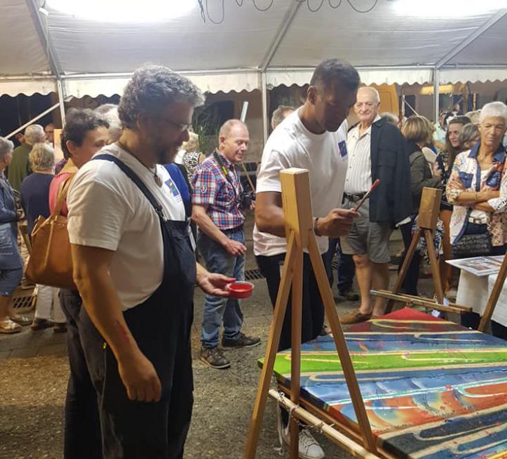 Emile Ntamack intervenant sur mon tableau à Maubourguet